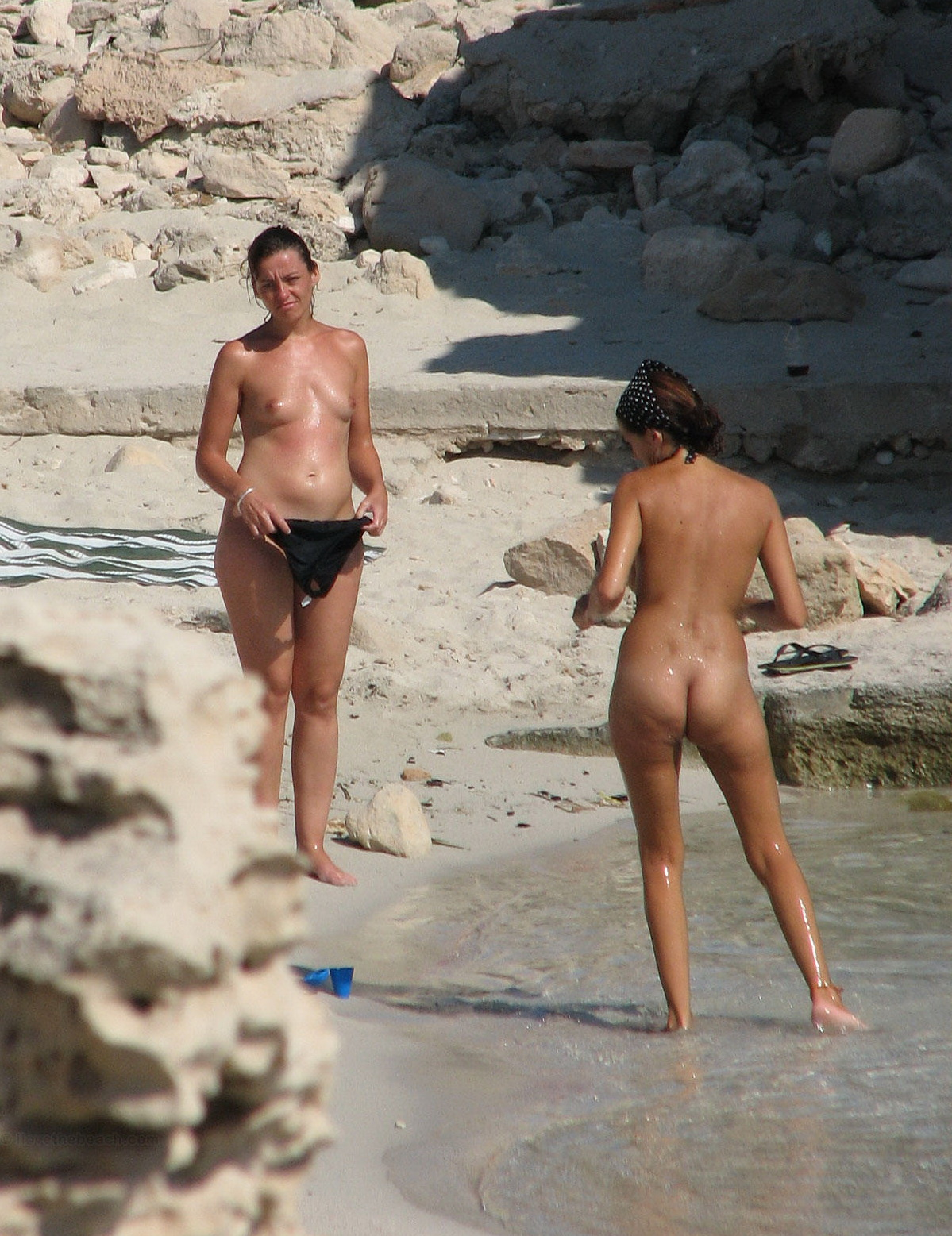 Beach voyeurs spying two nude ladies