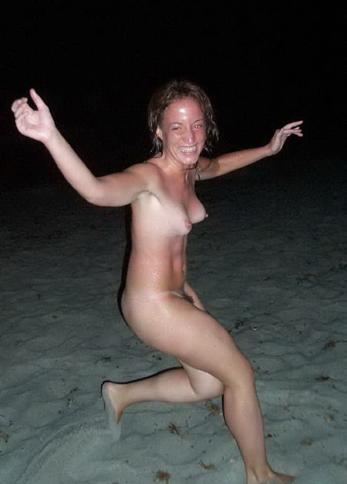Wild life in the night on nudist beach