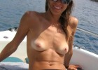 Small titted babe happy face at beach