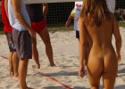 Guys appreciating naked hottie playing volleyball