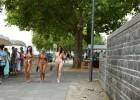 Nude girls taking a walk in public