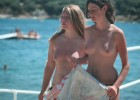 Topless sweet teens preparing for a tan