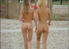 Nude cute chicks on a soft walk