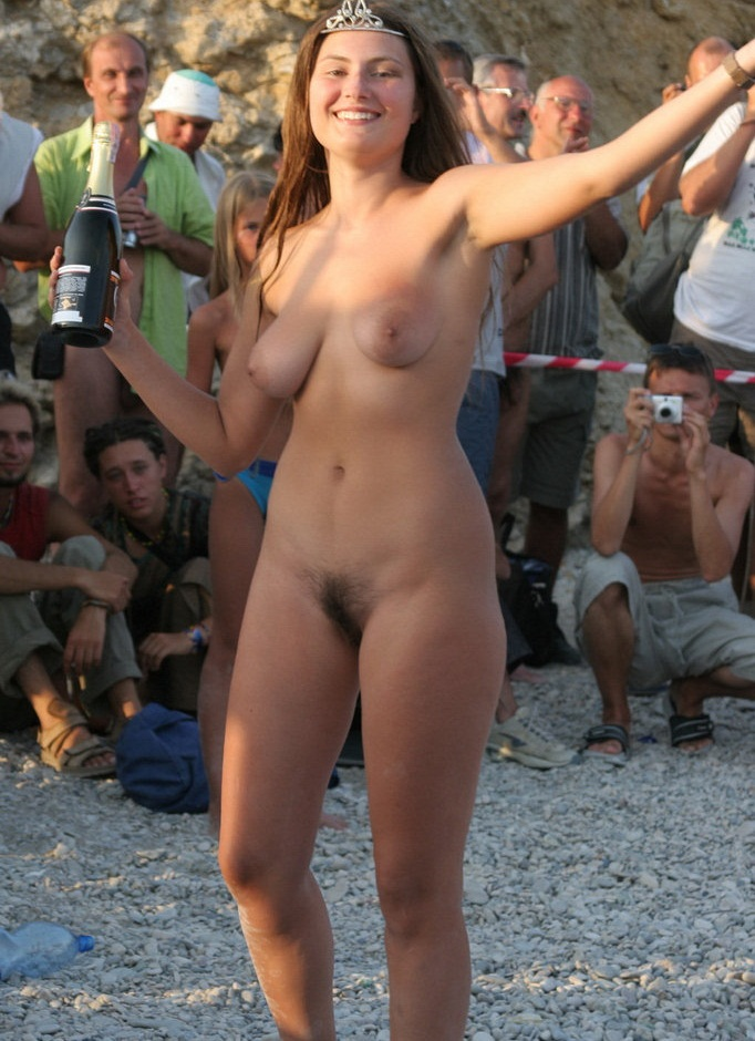 naked women with hairy pussy at the beach